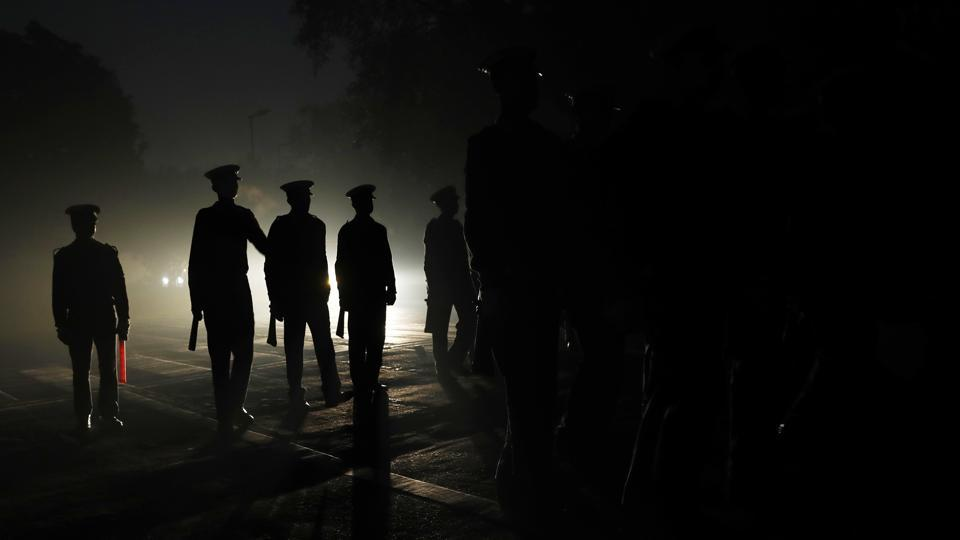 Indian Coast Guard soldiers march during an early morning practice ahead of the Republic Day parade in New Delhi, India, Thursday, Jan. 5, 2017. India celebrates Republic Day on Jan. 26, marking the day that its constitution came into effect in 1950.  (Tsering Topgyal /  AP)