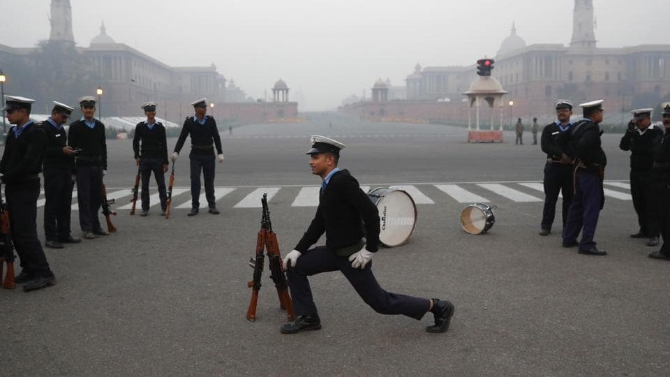 An Indian Coast Guard soldier stretches during a practice ahead of the Republic Day parade in New Delhi, India, Thursday, Jan. 5, 2017. Indians celebrate Republic Day on Jan. 26, marking the day that its constitution came into effect in 1950.  (Tsering Topgyal / AP)