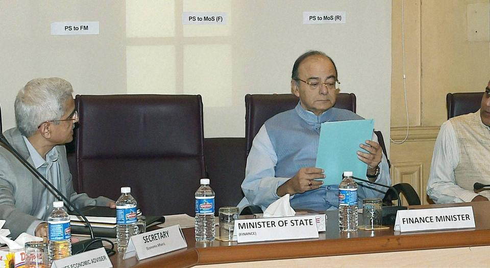 Union finance minister Arun Jaitley, finance secretary Ashok Lavasa and economic affairs secretary Shaktikanta Das at a pre-budget meeting with social sector groups, in New Delhi on November 26, 2016.