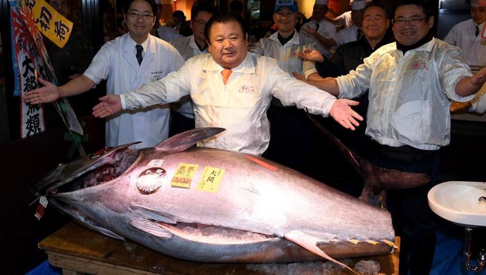 """""""Tuna King"""" Kiyoshi Kimura and his prize."""