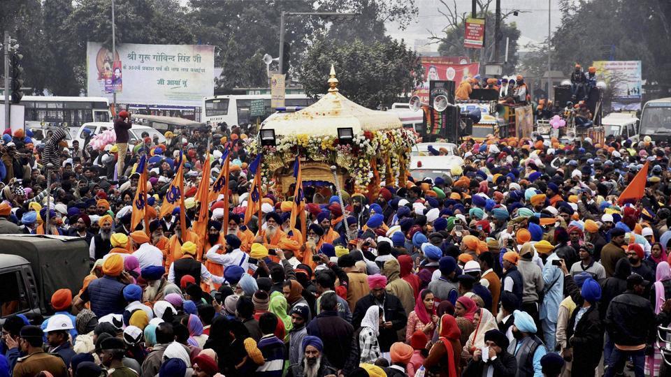 A vehicle carrying Guru Granth Sahib during the Nagar Kirtan procession, in Patna on Wednesday.