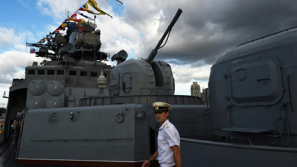 A Russian anti-submarine ship is one of two currently in Manila for war games with the Philippine navy