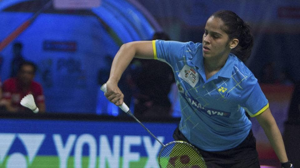 Saina Nehwal defeated Nitchaon Jindapol to help Awadhe Warriors beat defending champions Delhi Acers 6 to -1 in the Premier Badminton League.