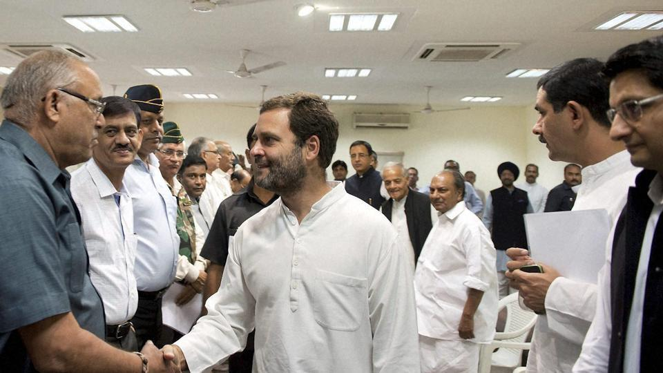 Congress vice-president Rahul Gandhi meets with ex-servicemen over the OROP issue at the party headquarters in New Delhi in November.