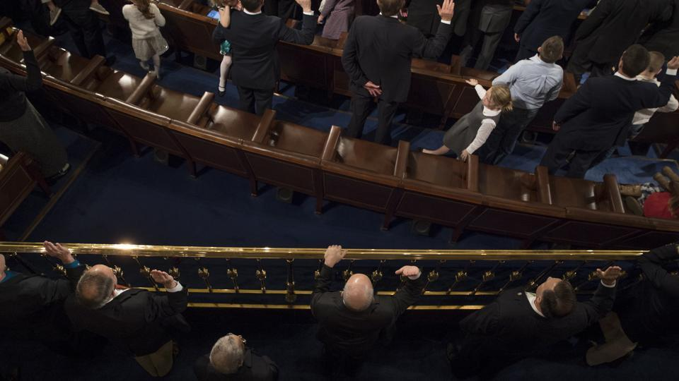 Swearing in of the 115 US Congress in the chambers of the House of Representatives at the Capitol in Washington on Tuesday.
