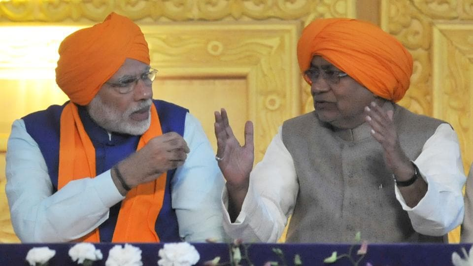 Prime Minister Narendra Modi and Bihar CM Nitish Kumar during the 350th birth anniversary of Sikh Guru Gobind Singh Ji in Patna on Thursday.
