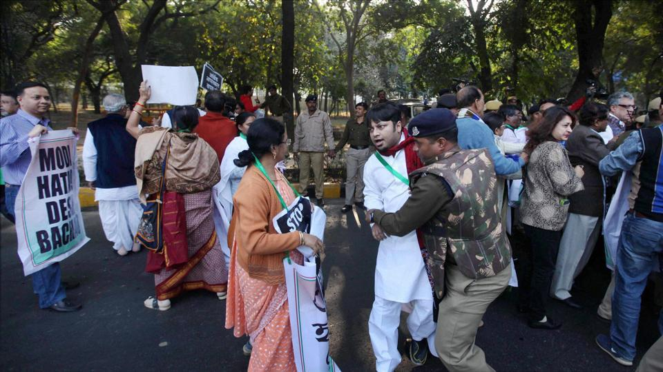 Trinamool Congress MPs being detained during a protest march towards the Prime Minister's residence in New Delhi on Wednesday, a day after party leader Sudip Bandyopadhyay's arrest in an alleged corruption case.