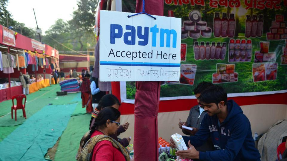 'Paytm accepted here' banners displayed at the Khadi exhibition in Varanasi.