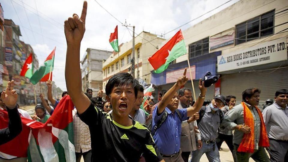File photo of protesters in Kathmandu.