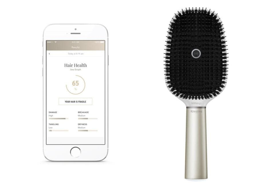 Beauty brands L'Oreal and Karastase want to make bad hair days a thing of the past. The two companies teamed up with tech company Withings on a Hair Coach brush that uses a microphone, gyroscope and other sensors to monitor how fast and how hard a person is brushing. An accompanying app recommends how to brush for optimal quality and minimal breakage and split ends. It can also take into account hair-influencing factors like heat or humidity and even discern if hair is wet or dry. (L'Oreal)