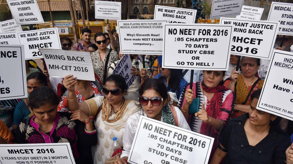 Parents protesting against the implementation of NEET last year.