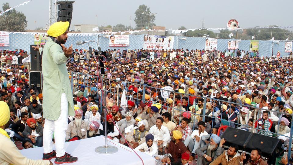 Aam Aadmi Party Sangrur MP Bhagwant Mann addressing a gathering in Bathinda.