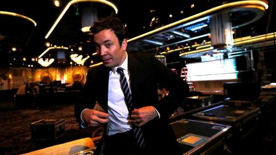 Host and comedian Jimmy Fallon poses during preparations for the 73rd Annual Golden Globe Awards in Beverly Hills.