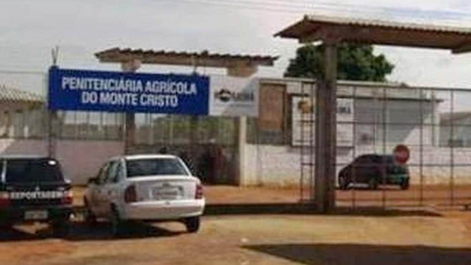The entrance gate to the Agrícola de Monte Cristo Penitentiary, where at least 33 inmates were killed by their rivals at a prison in northern Brazil on Friday, days after a riot by warring gangs left dozens more dead at another prison, officials said.