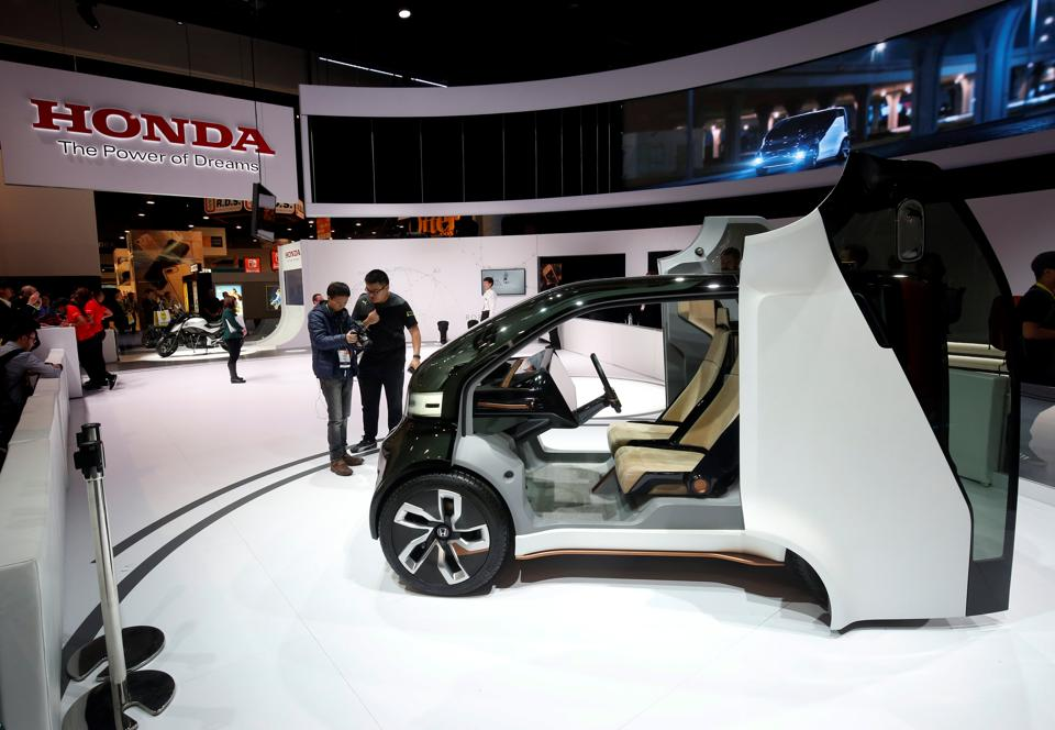 A Honda MEU-V, an electric, autonomous concept vehicle, is displayed during the 2017 CES in Las Vegas, Nevada. (REUTERS)