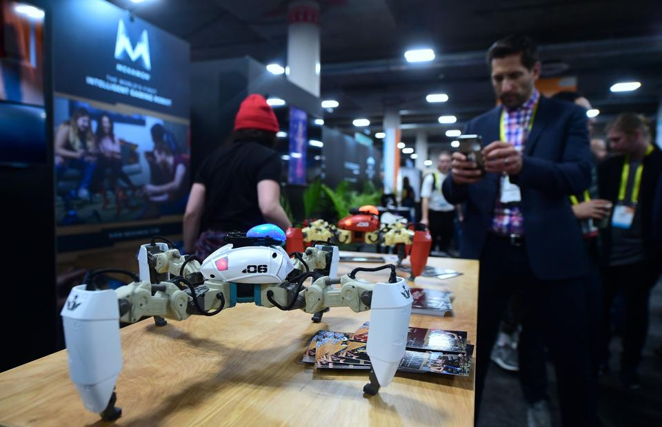 Mekamon, billed as the world's first intelligent gaming robot from Reach Robotics, is displayed during the 2017 Consumer Electronic Show (CES) at the Las Vegas Convention Center in Las Vegas, Nevada. (AFP)