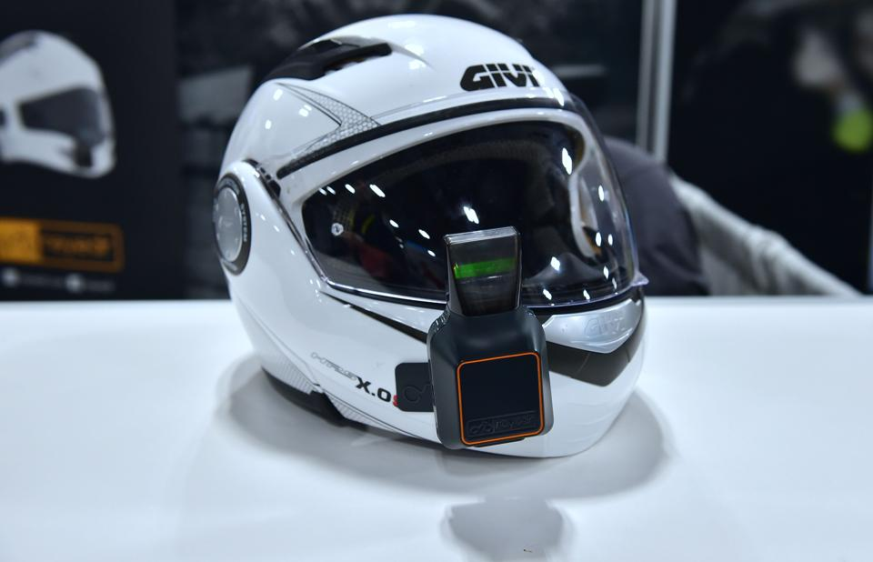 The Reyeder Heads-Up display for Motorcyclists, attached to a helmet is displayed during the 2017 Consumer Electronic Show (CES) in Las Vegas, Nevada. (AFP)