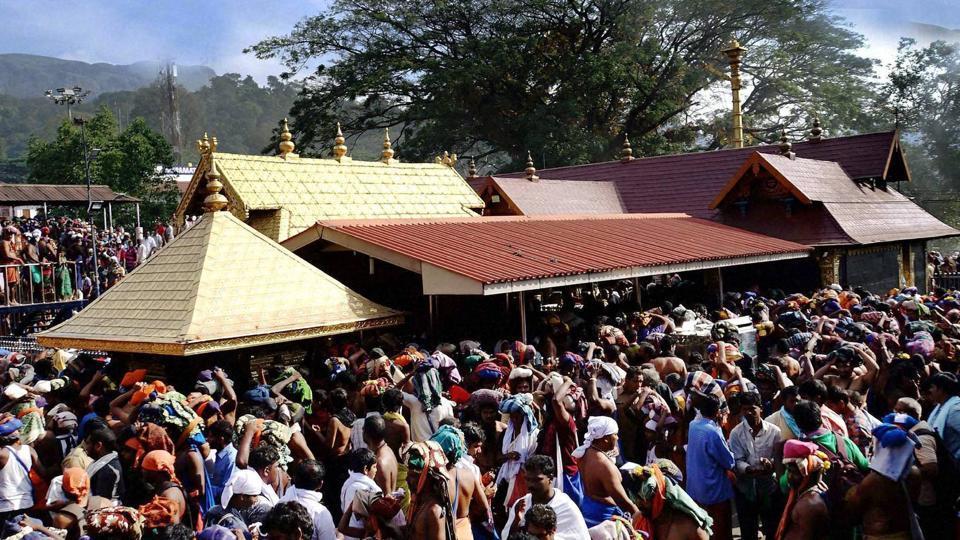 Devotees throng around sanctum sanctorum at Sannidhanam in Sabarimala temple.