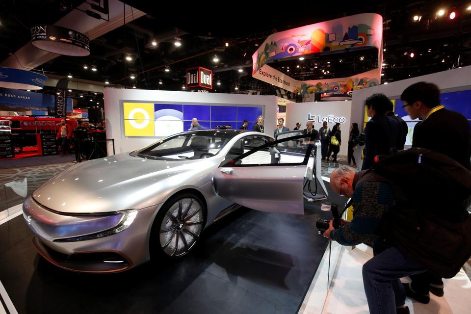 The LeSee Pro electric concept vehicle by LeEco is displayed during the 2017 CES in Las Vegas, Nevada. (REUTERS)
