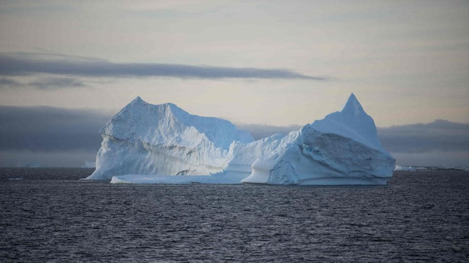 This file photo taken on March 2, 2016 shows an iceberg in the western Antarctic peninsula.