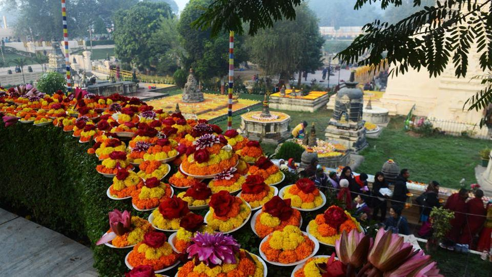 Floral arrangements during the Kalachakra event at Bodhgaya's Mahabodhi temple where the Buddha is said to have attained enlightenment. (AFP PHOTO / Dibyangshu SARKAR)