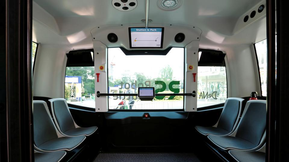 The interior of Japan's internet commerce and mobile games provider DeNA Co's Robot Shuttle, a driver-less, self driving bus, is seen during its demonstration in Tokyo, Japan (File Photo)