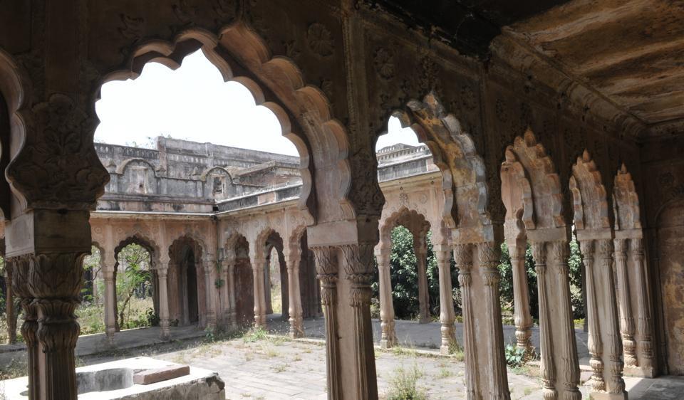The elegant interiors of Bhopal's Taj Mahal.