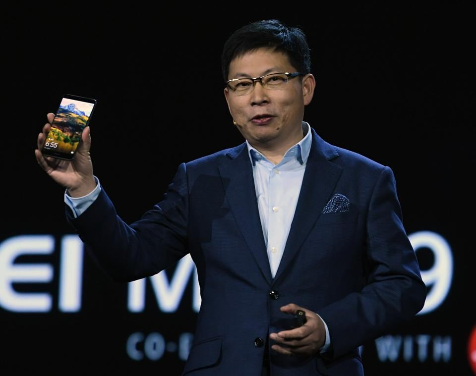 CEO of Huawei Consumer Business Group Richard Yu introduces the Huawei Mate 9 phone as he delivers a keynote address at CES 2017 at The Venetian Las Vegas in Las Vegas, Nevada. (AFP)