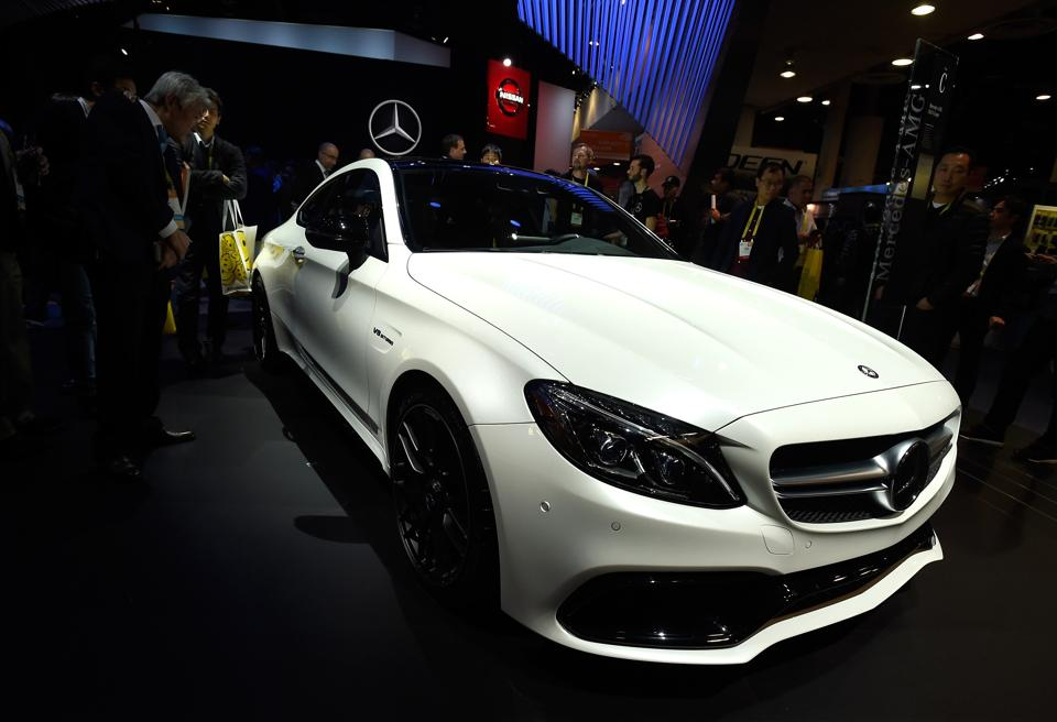 A Mercedes-AMG C63 S Coupe is displayed at the Mercedes Benz booth at CES 2017 at the Las Vegas Convention Center in Las Vegas, Nevada. (AFP)