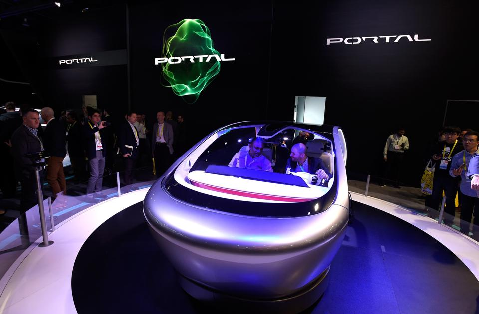An autonomous self-driving concept vehicle called Portal is diplayed at the Chrysler booth at CES 2017 at the Las Vegas Convention Center in Las Vegas, Nevada.  (AFP)