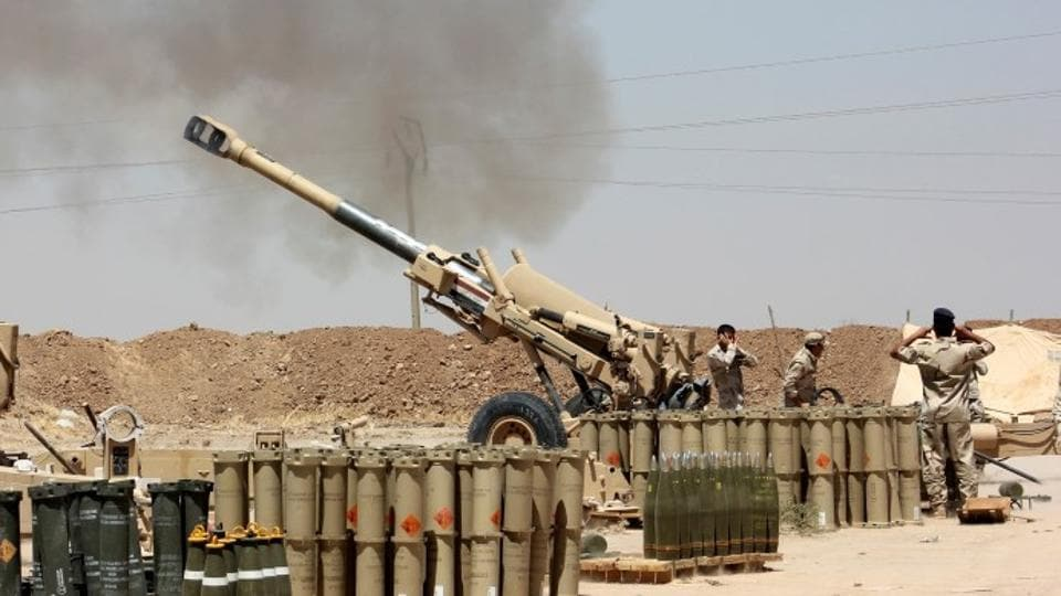 """Iraqi forces launched an offensive against the Islamic State group near the Syrian border Thursday, piling further pressure on the jihadists' crumbling """"caliphate""""."""