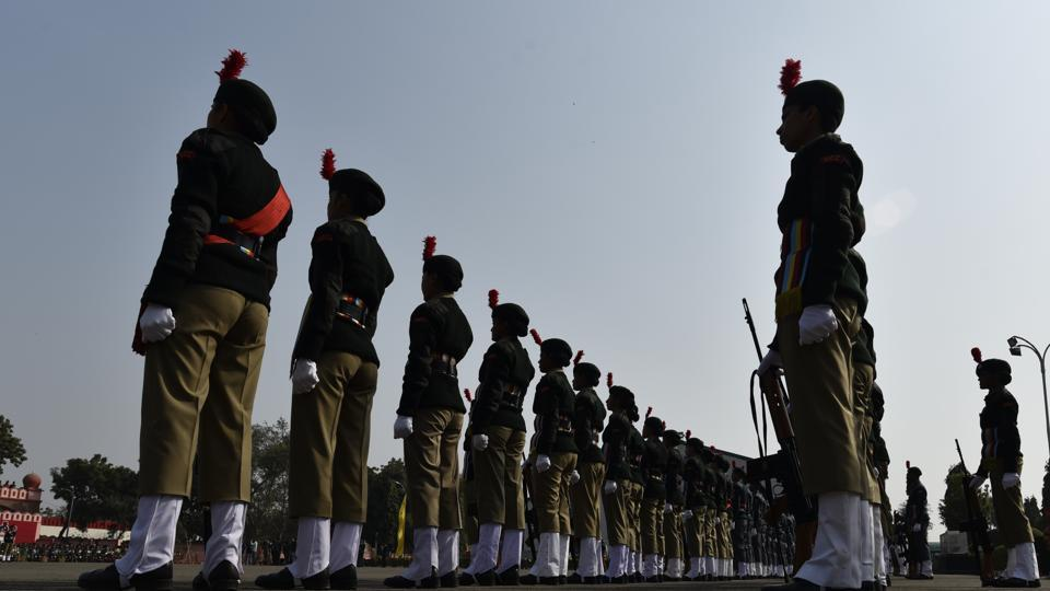 NCC cadets line up for the guard of honour ceremony during the NCC Republic Day camp inauguration. (Vipin Kumar/HT PHOTO)