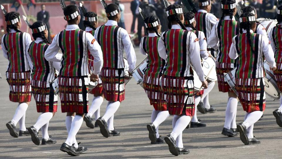 Band of Government Mizo High School, Aizawl, performs march past during the inauguration of NCC Republic Day camp 2017.  (Vipin Kumar/HT PHOTO)