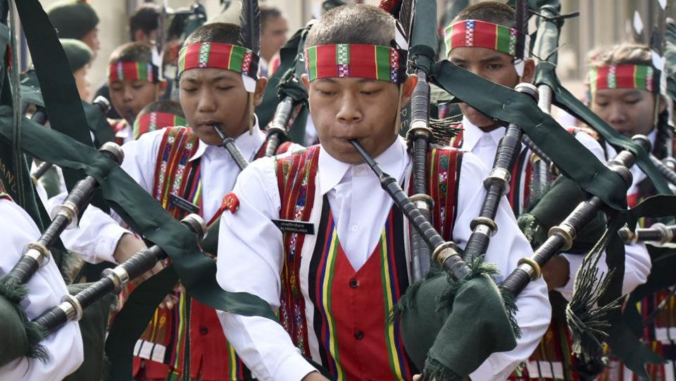 Band of Government Mizo High School, Aizawl, performs during the inauguration of NCC Republic Day Camp 2017 by vice-president Hamid Ansari at Delhi Cantonment Parade Ground in New Delhi on Friday.  (Vipin Kumar/HT PHOTO)