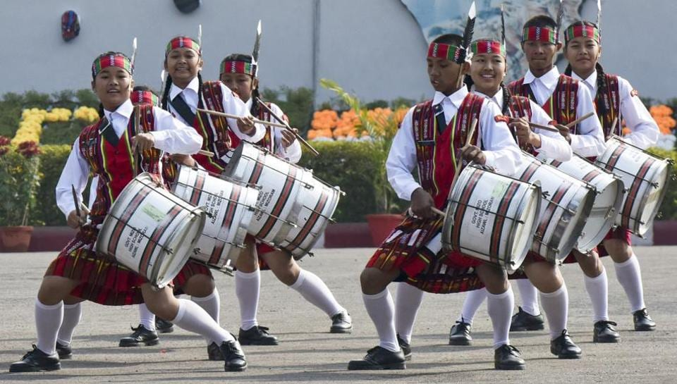 School band of Government of Mizo High School, Aizawl performs during the NCC Republic Day Camp 2017 inaugurated  by vice-president Hamid Ansari at Delhi Cantonment Parade Ground in New Delhi on Friday..  (Vipin Kumar/HT PHOTO)