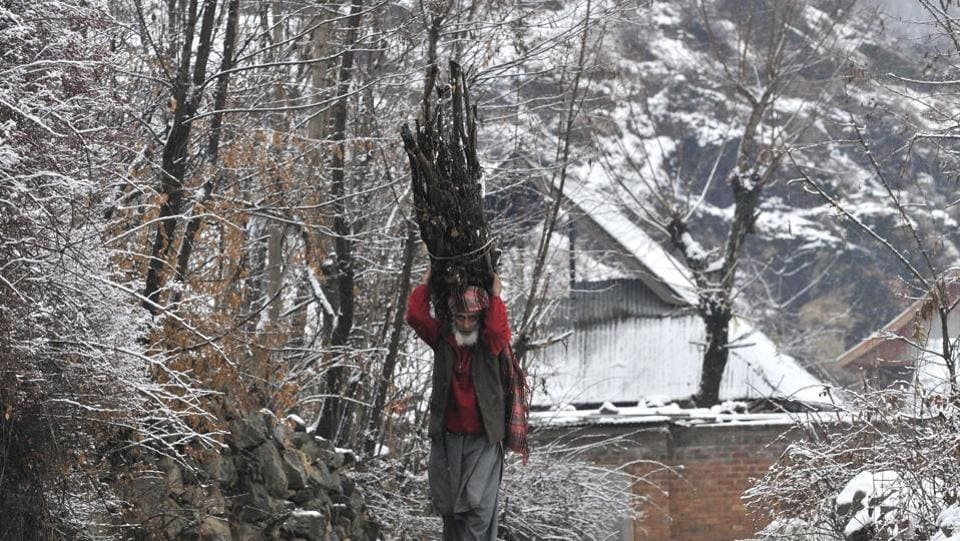 A kashmiri man carries wood for cooking as he walks on a mountain road, on the outskirts of Srinagar, India on 05 January 2017. (Waseem Andrabi / HT Photo)