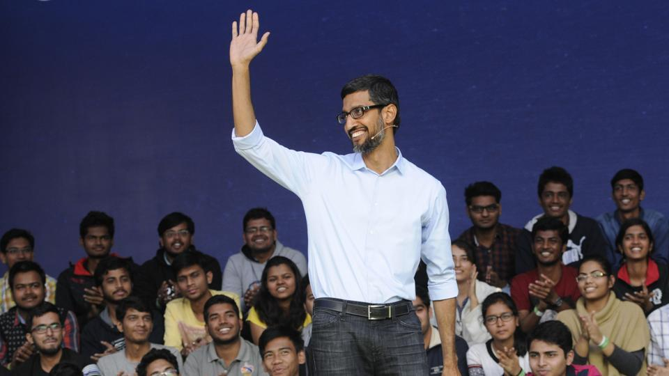 The Google CEO interacting with students at IIT Kharagpur campus on Thursday.