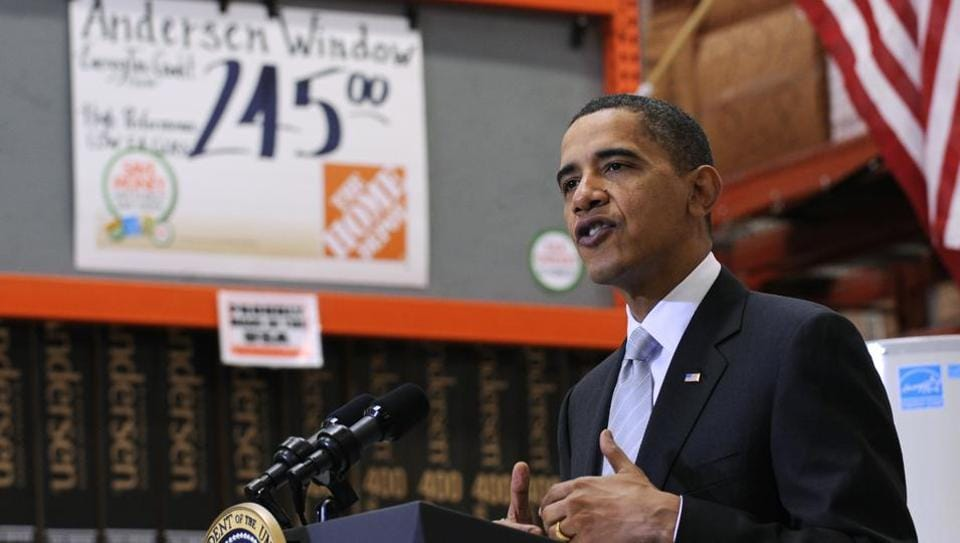 President Barack Obama speaks during a visit to Home Depot in Alexandria, Virginia, US, in December 2009.