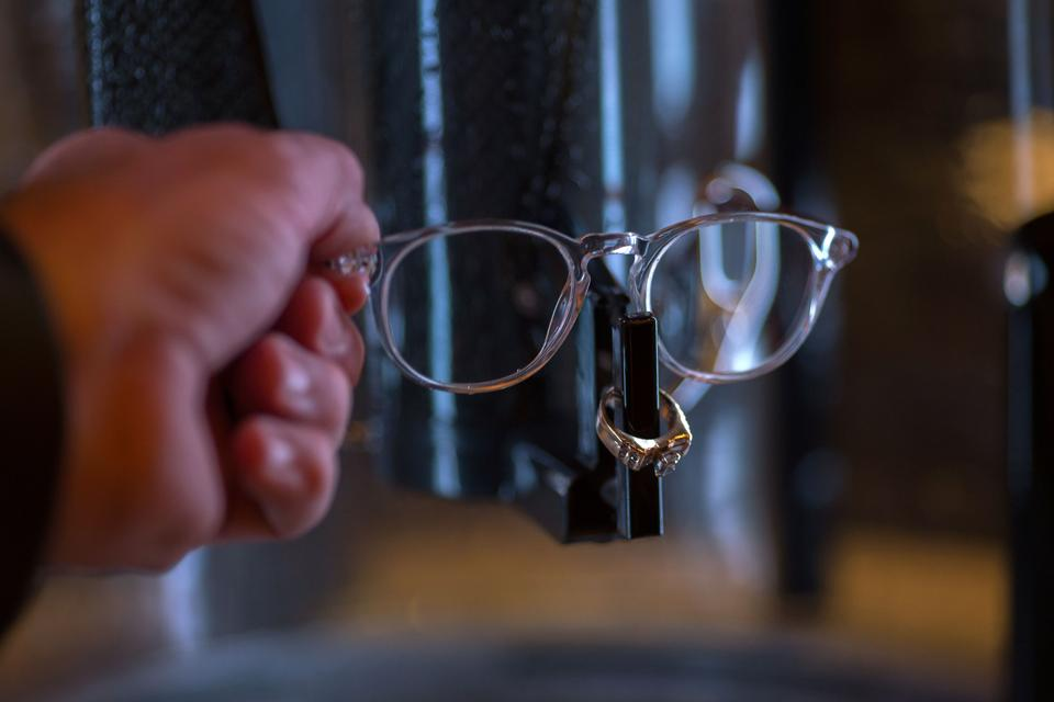 A pair of glasses is cleaned using only water in an Opticwash at ShowStoppers during the 2017 Consumer Electronic Show (CES) in Las Vegas, Nevada. (AFP)