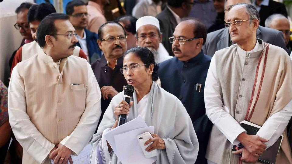 West Bengal CM Mamata Banerjee addresses media at the end of her administrative meeting with state government officials in Kolkata.