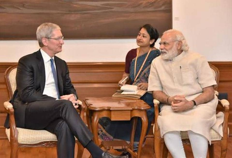 Apple CEO Tim Cook with Prime Minister Narendra Modi