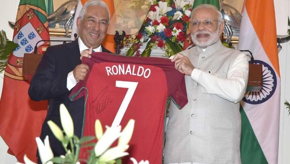 Portuguese Prime Minister Antonio Costa gifts a personally autographed by Cristiano Ronaldo to Narendra Modi, at Hyderabad House, in New Delhi on January 7.