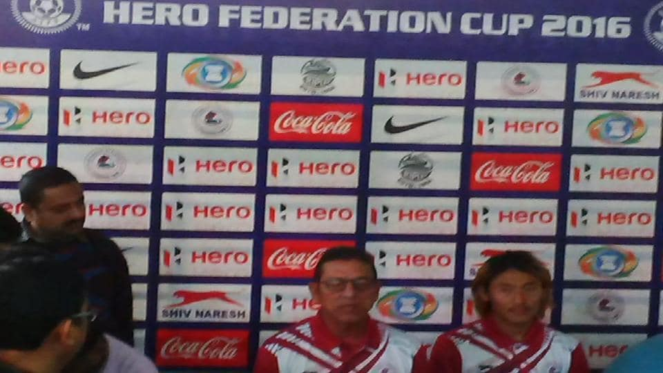"Mohun Bagan put up as backdrop to the official pre-match media conference of their 10th I-League opener, against Churchill Brothers, that said ""Hero Federation Cup 2016"""