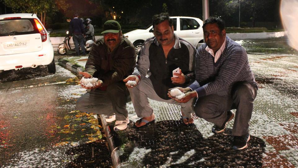 Rain,hailstorm,Chandigarh