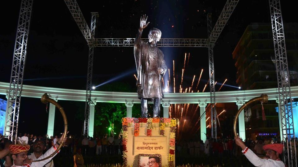 The 22foot statue of the late Sena chief Bal Thackeray that was inaugurated in Kalyan on Saturday.