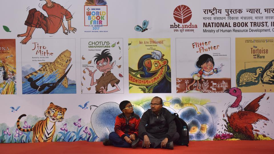 "NBT is celebrating 60 years of its foundation by showcasing its journey in promoting books and reading at a special exhibit ""This is no looking back!"" during the fair. (Virendra Singh Gosain/HT PHOTO)"