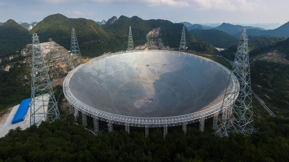 The five-hundred-metre Aperture Spherical Radio Telescope (FAST) in Pingtang, in southwestern China's Guizhou province.