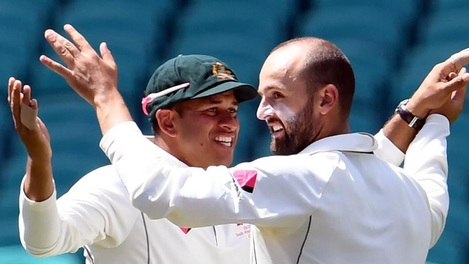 Australia spinner Nathan Lyon (right) celebrate with Usman Khawaja after dismissing Pakistan batsman Younis Khan on Day 5 of the 3rd Test at the SCG, in Sydney on Saturday. Catch cricket score of Australia vs Pakistan 3rd Test, Day 5 here.