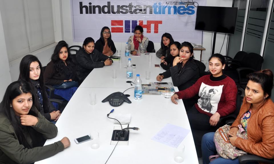 Women artists at the HT ofiice in Dehradun on Saturday.