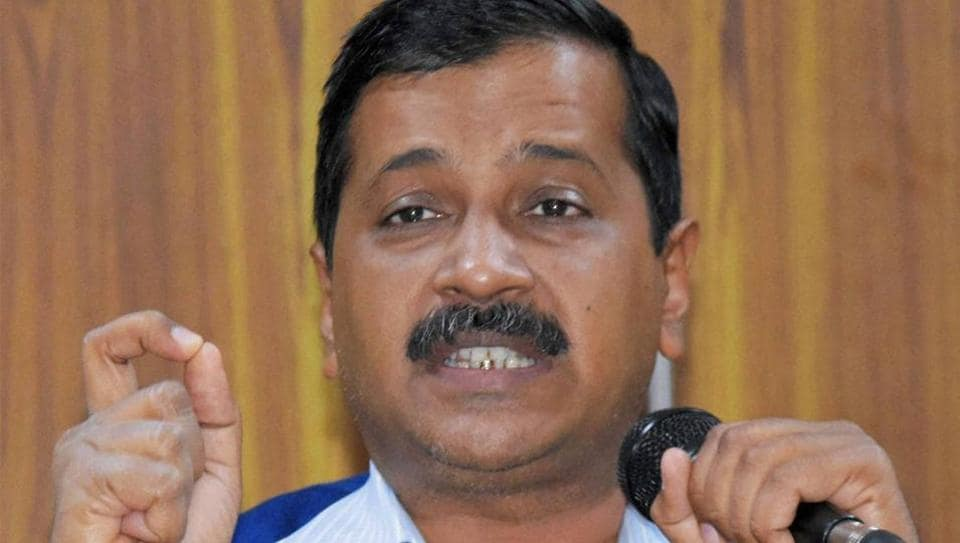 Delhi chief minister Arvind Kejriwal addressing a press conference at his residence in New Delhi.